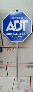 1 NEW 27.5quot; AUTHENTIC SECURDED BY ADT SECURITY YARD SIGN WITH ALUMINUM POST