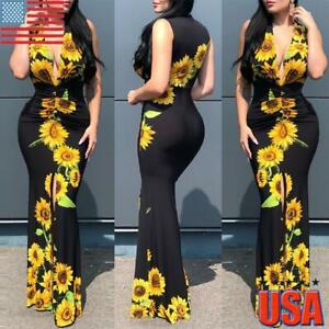 US Womens Sunflower Print Sleeveless Plunge V Neck Bodycon Party Long Maxi Dress $21.29