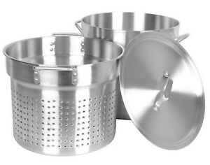 20 Quart Aluminum Pasta Cooker Large Stock Pot Strainer Lid NSF
