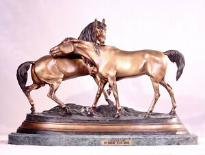 L'Accolade Finest US Lost Wax Bronze Horses Statue by P.J. Mene Medium size $1100.00