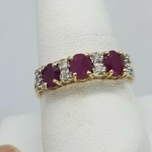 Ruby And Diamond Band Ring Size 9