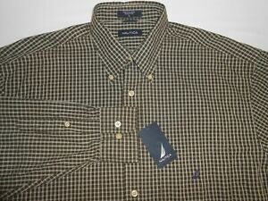 Nautica Mens Designer Long Sleeve Olive Checkered Casual Shirt Large NEW $59