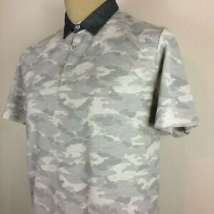 New With Tags Men#x27;s Project Red White and Gray Camouflage Polo Shirt Size Large