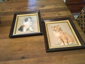 2 VTG KITTEN Lithograph Prints by Animal Artist Silton Framed Matted w Glass $69.99