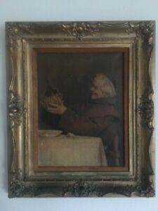 Antique Chromolithograph Print on Canvas Drinking Priest Art by Alessandro Sani $40.00