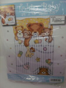 Tobin Baby UNDER THE COVERS Bears Stamped Cross Stitch Baby Quilt Kit 34quot; x 43quot; $29.99
