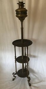 Antique PIANO FLOOR LAMP Victorian OIL PARLOR Vtg Over 4FT $750.00