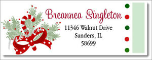 CHRISTMAS HOLIDAY CANDY CANE DESIGN #309 RETURN ADDRESS LABELS GLOSSY OR MATTE $1.85
