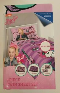 Nickelodeon JoJo Siwa Sheet Set 3 Piece Twin Size New $20.25