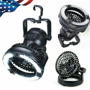 2 in 1 Portable LED Camping Light w Ceiling Fan Outdoor Flashlight Tent Lamp