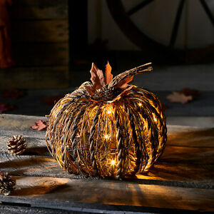 Rattan Pumpkin Battery Operated LED Fall Thanksgiving Lighted Decoration $39.99
