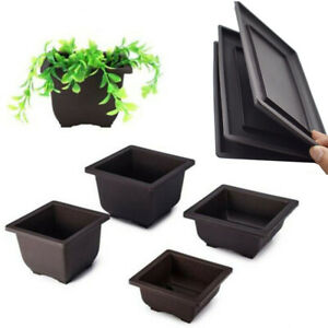 Plastic Square Flower Pot Small Succulent Nursery Vase With Tray Home Decoration C $11.50