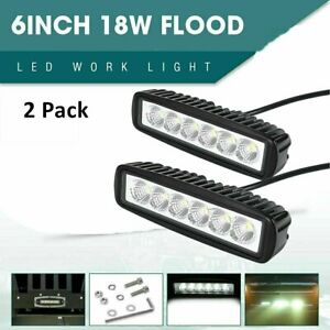 2pc 6inch 18W LED Work Light Bar 4WD Offroad Spot Pods Fog ATV SUV Driving Lamp $10.99