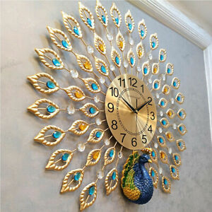 24quot; Luxury Peacock Large Wall Clock 3D Metal Living Room Wall Watch Home Decor $59.49