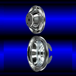 Chrome small block Chevy pulley set 2 pulleys long pump SBC single belt $58.99