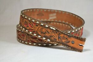 Vintage Wright Western Hand Tooled Leather Belt with Stitch Detail Sz 40 WRIGHT $68.00