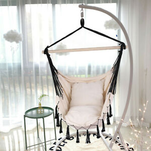 Large Patio Hanging Swing Egg Chair Hammock with Stand Cushions Outdoor Chair US $30.44