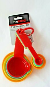 True Living Measuring Set 8 pieces cups spoons plastic multi colored $6.99
