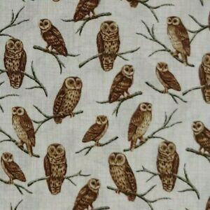 Perched Owls Wildlife Nature 100% Cotton Quilting Fabric 1 2 YARD Free Ship $6.69