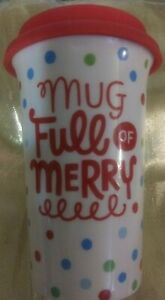 Hallmark Mug Full of Merry White with Polka Dots and Red Lid $7.50