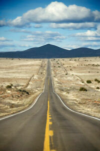 344195 Long Highway Through Desert Landscape in Texas Photo GLOSSY POSTER CA C $49.95