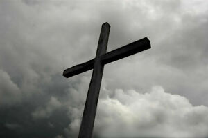 344733 Wooden Cross Under Storm Clouds Bamp;W Photo GLOSSY POSTER US $74.95