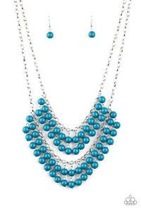 Paparazzi Bubbly Boardwalk Blue Necklace with Matching Earrings