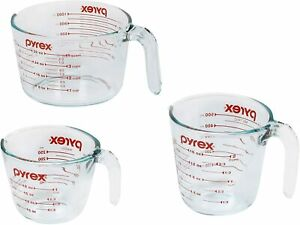 Pyrex Glass Measuring Cup Set 3 Piece Microwave and Oven Safe Clear $20.50