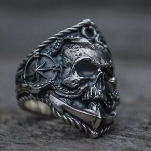 Vintage Silver Gothic Punk Ring Demon Satan Goat Skull Ring