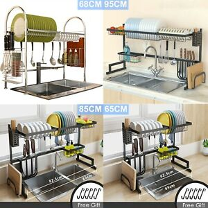 Over Sink Dish Drying Rack 2 Tier Stainless Steel Kitchen Shelf Cutlery Drainer $37.98