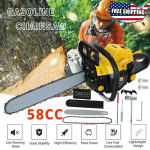 2300W Gas Chainsaw 58cc 2.7HP 20quot; Powerful 2 Stroke Handed Petrol Chain Tool $79.98