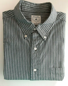Brooks Brothers Sport Shirt Gray Striped Long Sleeve Button Front Size Large $20.50