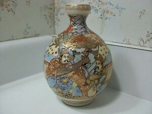 Japanese Pottery Meiji Period Satsuma Kutani Vase Jar Asian Buddha God Figure 7