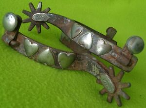 KELLY Antique Silver Mounted Triple HEART Pattern Cowboy Western SPURS NICE Cond