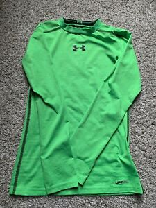 BOYS YOUTH UNDER ARMOUR MEDIUM LONG SLEEVE SHIRT HEAT GEAR FITTED GREEN $11.95