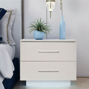 20″ White Modern Bedside Table Nightstand with 3 Storage Drawers Bedroom Cabinet $82.99