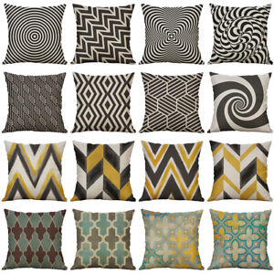 Geometry Striped Cotton Linen Cushion Cover Throw Pillow Case Home Decor $3.99