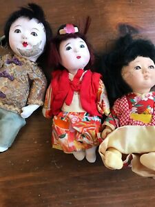 Set of three composition Chinese dolls VINTAGE boy and two girls $14.99