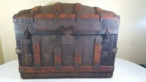 Antique Steamer Trunk Vintage Victorian Wooden amp; Medal Dome Top Chest MM Secor $1000.00