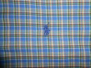 Ralph Lauren Polo Mens Designer Long Sleeve Blue Plaid Casual Shirt Soft Large