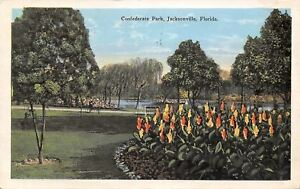 Jacksonville Florida Confederate Park Flower Bank Weeping Willow 1928 Postcard $3.25