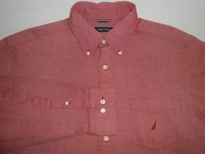 Nautica Mens Designer Long Sleeve Light Red Pocketed Casual Shirt Large NEW