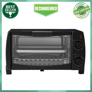 4 Slice Black Home Kitchen Toaster Oven with Dishwasher Safe Rack amp; Pan 3 Piece $27.99