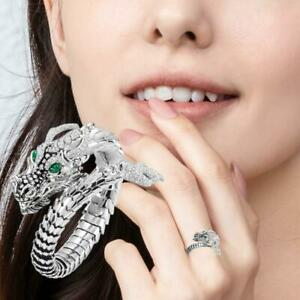 Individual Fashion Creativity Dragon Shaped Real White Topaz Rings L7D4