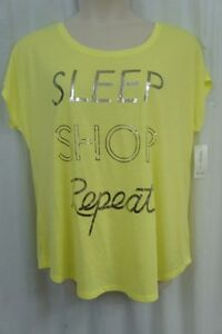 Style amp; Co. Sport T Shirt Woman Sz 0X Sunny Lime Graphic Cap Sleeve Text Tee $16.61
