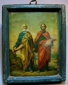 ANCIENT ICON SAINTS PETER AND PAUL. LITHOGRAPHY IN FRAME 19 CENTURY S.207 $39.00