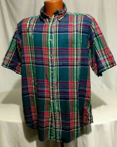 Brooks Brothers Sport Shirt Mens Large Button Front Green Red Blue Plaid $12.99