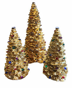 Enesco Gold Foil Christmas Trees Rhinestone Designed Giftware 1994 Set of 3 Vtg $25.49