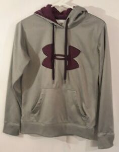 Womens Grey And Purple Under Armour Pullover Hoodie Size XS $9.49
