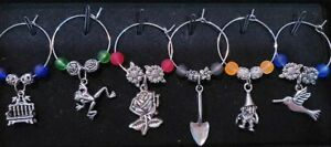 Set of 9 Unique Garden Themed Wine Glass Charms Pendant Drink Markers $11.75
